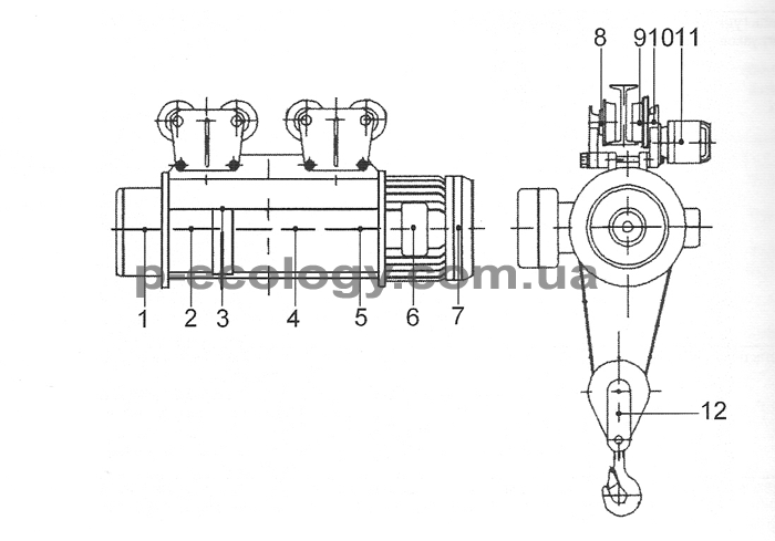 Схема смазки тельфера