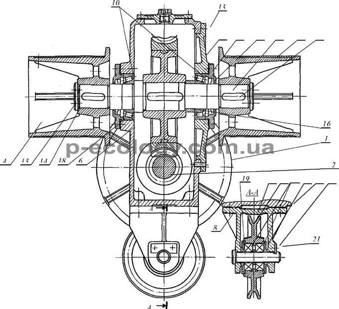 Ниже представлена схема механизма подъема.  Подъемный механизм включает в себя тяговую звездочку 7, закрепленную на...
